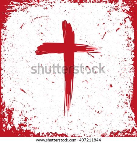 Jesus Christ logo. Cross painted brushes - stock vector