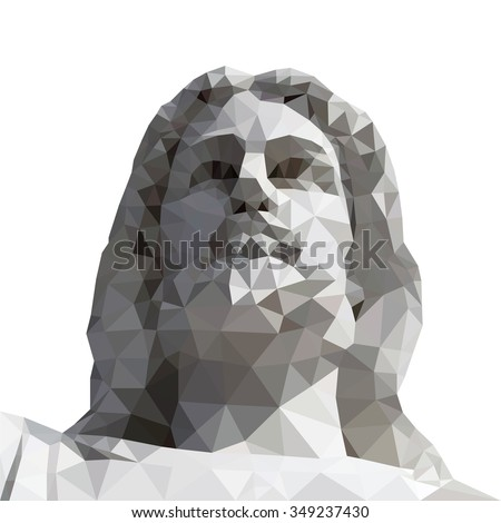 Jesus Christ, low poly vector illustration.