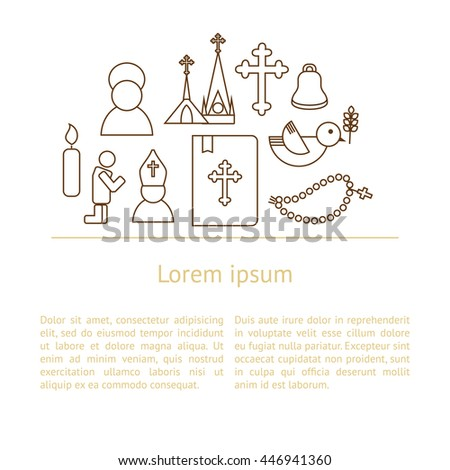 Jesus Christ religion background with text. Christianity outline pictograms - stock vector