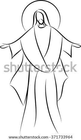 Jesus Christ simple line drawing vector illustration, with his arms spread out. Easter motive, risen Lord. - stock vector