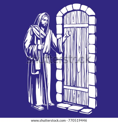 Jesus christ son god knocking door stock vector 2018 770519446 jesus christ son of god knocking at the door symbol of christianity hand drawn altavistaventures Gallery
