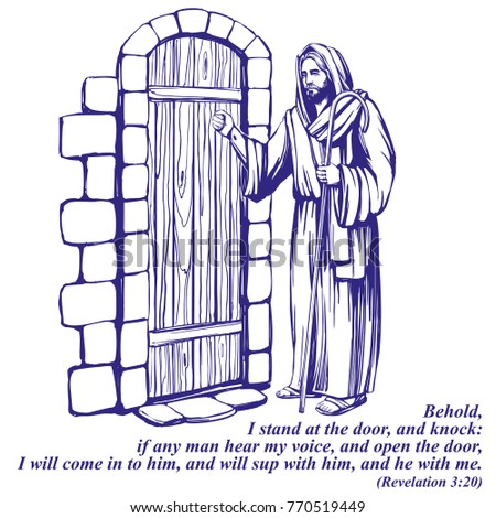Jesus christ son god knocking door stock vector 2018 770519449 jesus christ son of god knocking at the door symbol of christianity hand drawn altavistaventures Gallery
