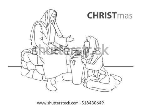 jesus christ talk to samaritan woman outline art graphic design