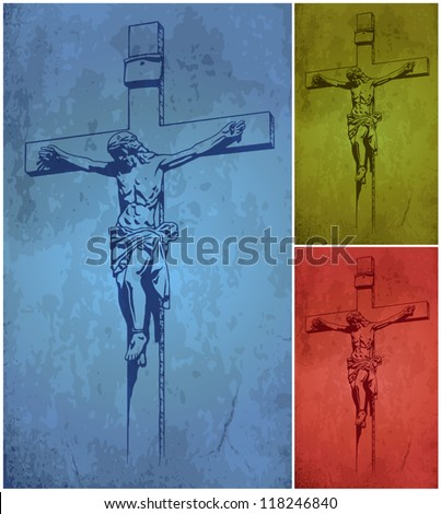 Jesus Christ, vector, crucifix, blessing, cross, Christianity - stock vector