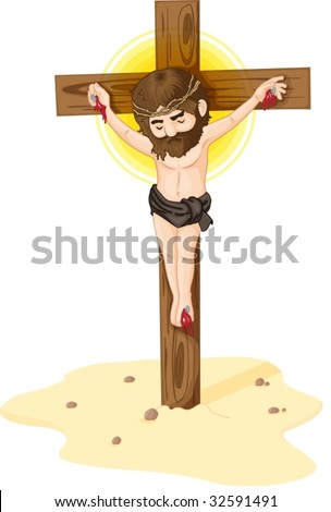 Jesus crucified to the cross - stock vector