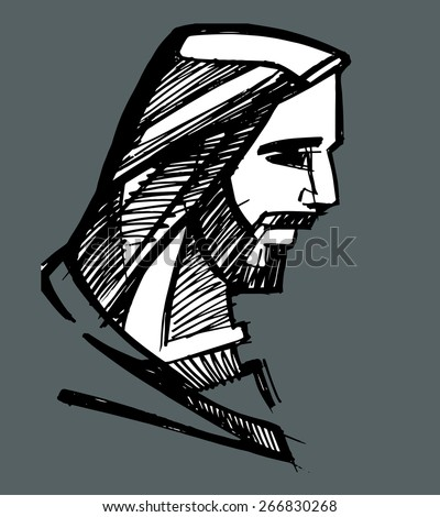 Jesus face Hand drawn vector illustration or drawing of Jesus face - stock vector