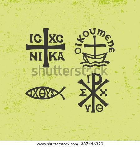 Jesus fish, ichthus, cross, icon, christian, symbols, latin - stock vector