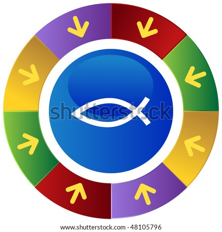 Jesus fish web button icon isolated on a background.