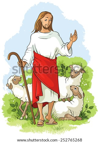 Jesus is a good shepherd. Also available outlined version - stock vector