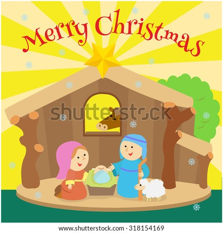 Jesus Is Born In A Stable With Mary And Joseph Next To Him