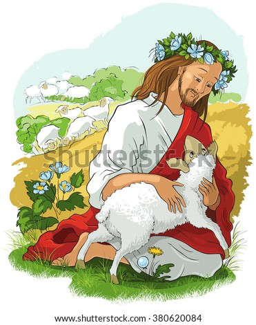 Jesus lamb of God. Christian Easter holiday cartoon illustration. Also available outlined version