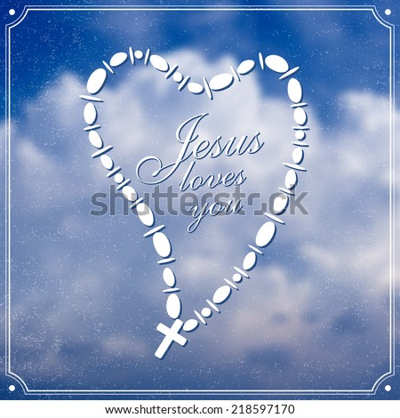Jesus loves you with Christian Cross in a heart shape over sky background, vector - stock vector