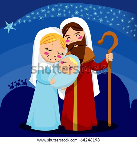 Jesus, Mary and Joseph under the shining star of Bethlehem - stock vector