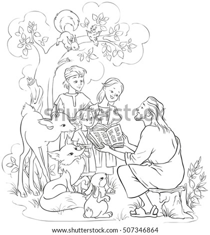 Jesus reading the Bible to children and animals. Coloring page. Also available colored version