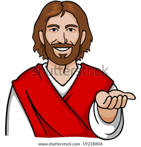 Jesus with an open hand. - stock vector
