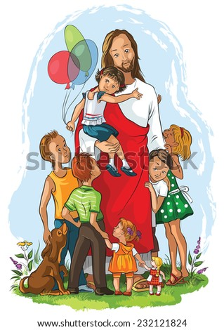 Jesus with children. Also available outlined version - stock vector