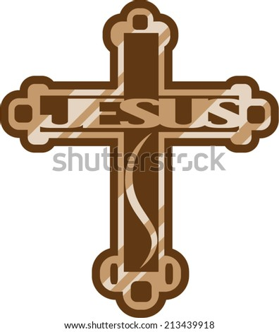 Jesus wooden Cross - stock vector