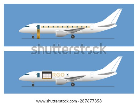 Jet airliner and cargo aircraft. Vector illustration. EPS 10, opacity