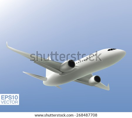 Jet airliner plane during the flight. Vector - stock vector