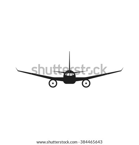 Jet airplane vector icon. Isolate airplane front view. Aircraft pictogram.