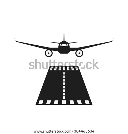 Jet airplane vector icon. Isolate airplane front view. Aircraft pictogram. Airport runway illustration. - stock vector