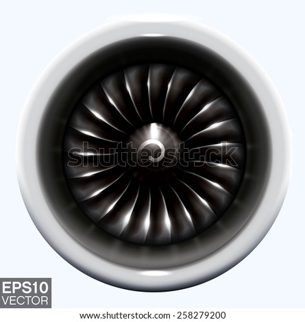 Jet engine. Realistic vector frontal view of jet turbine blades with advanced metallic effects.