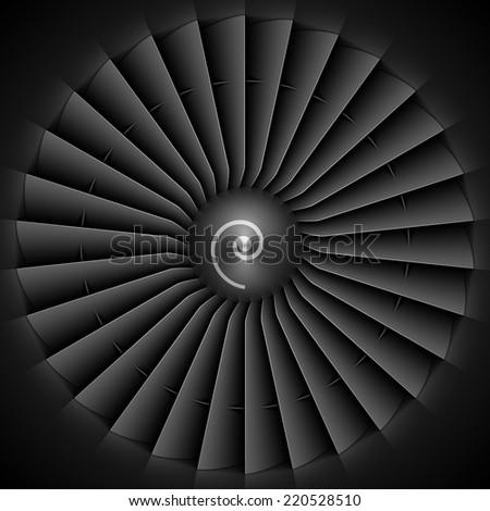 Jet engine turbine blades. Vector. - stock vector
