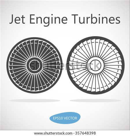 Jet Engine Turbine Front View - Isolated Vector Stock Illustration - stock vector