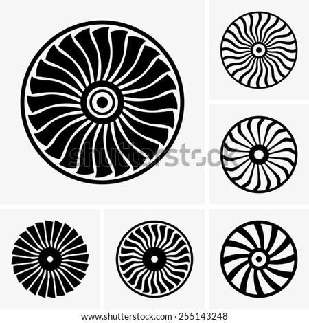 Jet engine turbines - stock vector