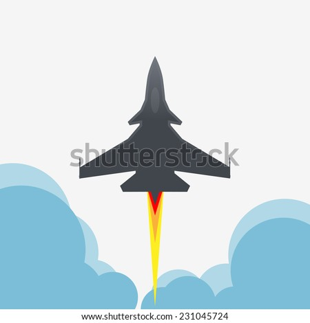 Jet fighter aircraft flying up - stock vector