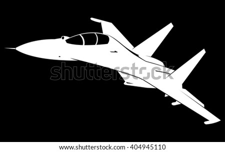 Jet fighter vector silhouette - stock vector