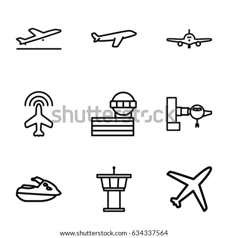 Stock Vector Jet Icons Set Set Of Jet Outline Icons Such As Plane Plane Taking Off Jetway Airport Tower