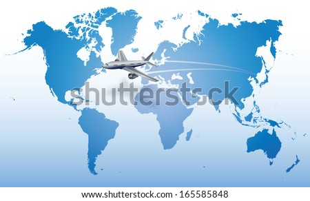 jet plane flying over blue world map - stock vector
