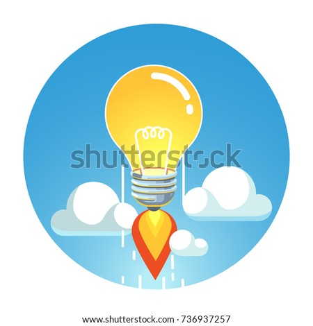 Jet rocket lightbulb flying into sky above clouds. Great creative idea rising up metaphor. Flat style vector isolated illustration.