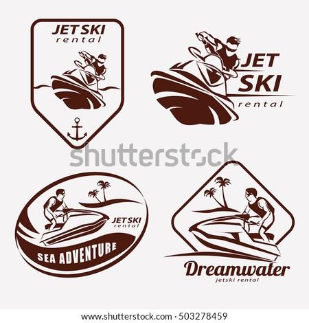 jet ski set stylized vector symbols stock vector 503278459