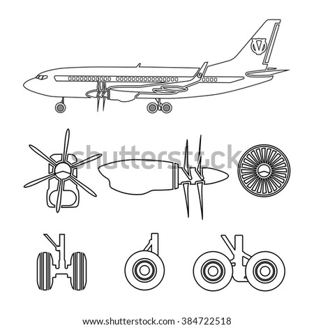 Jets constructor. Outline silhouettes aircraft parts. Collection of symbols for the repair of aircraft. Vector illustration - stock vector