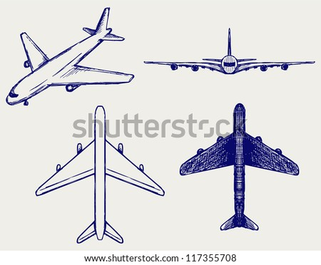 Jets symbols. Doodle style - stock vector
