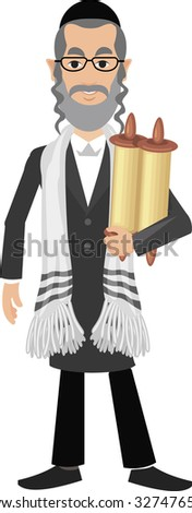 jew with torah - stock vector