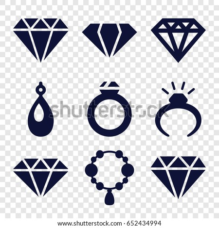 Jewel icons set. set of 9 jewel filled icons such as gem, ring, necklace, diamond, earring