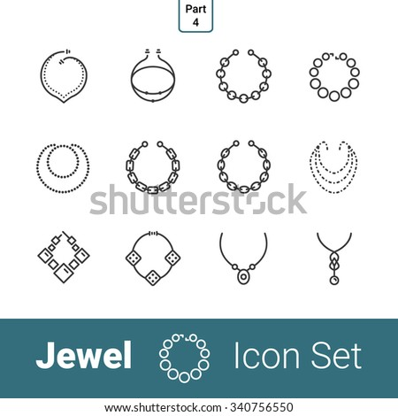 Jewel outline thin modern stylish icon set of 12 icons. Part 4 - necklaces and chains . EPS 10.