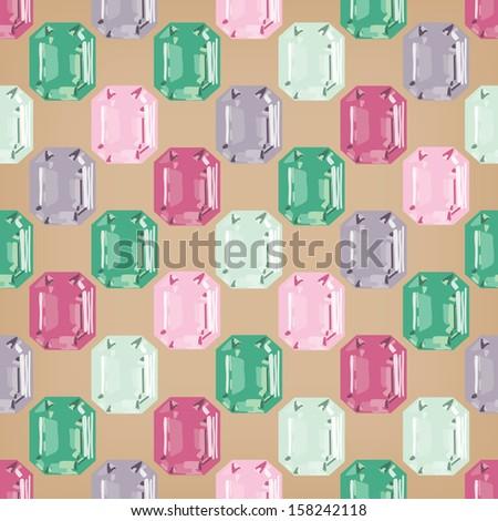 jewellery seamless colorful gemstone treasure background - stock vector