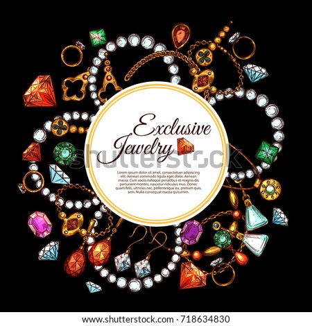 Jewelry accessories and fashion bijou of gemstones poster template. Vector exclusive design of gold and silver ring, necklace or earrings and golden pendants, jewels or diamonds and precious stones