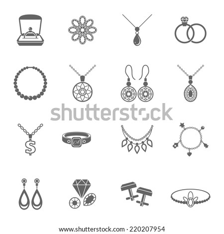 Jewelry black icons set of luxury jewels and precious gifts isolated vector illustration - stock vector