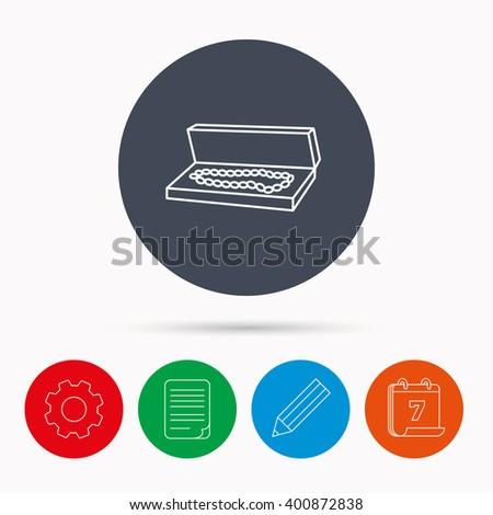 Jewelry box icon. Luxury precious sign. Calendar, cogwheel, document file and pencil icons. - stock vector