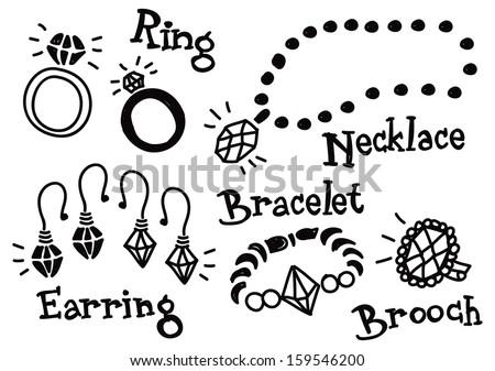 jewelry doodle - stock vector
