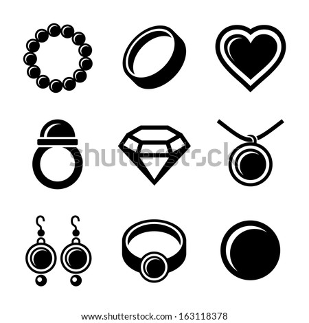 Jewelry Icons set - stock vector