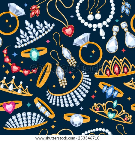 Jewelry items seamless dark background. Pattern with rings, earrings, pearl beads and gemstones. - stock vector