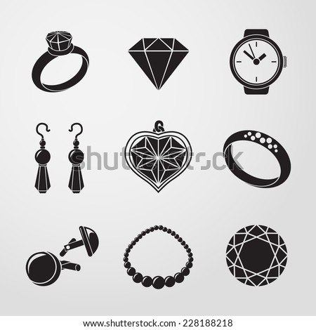 Jewelry monochrome icons set with - rings, diamonds, watch, earings, pendant, cuff links, necklace. Vector - stock vector