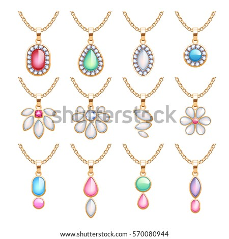 Jewelry pendants set golden chains gemstones stock vector for A good jewelry store