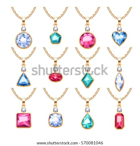 Jewelry pendants set golden chains gemstones stock vector 570081046 jewelry pendants set golden chains with gemstones precious necklaces with diamonds pearls rubies mozeypictures Gallery